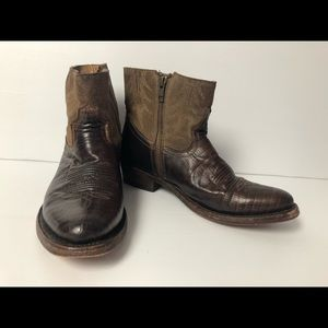 ASH Brown Leather Cowboy Boots Made In Mexico - 37